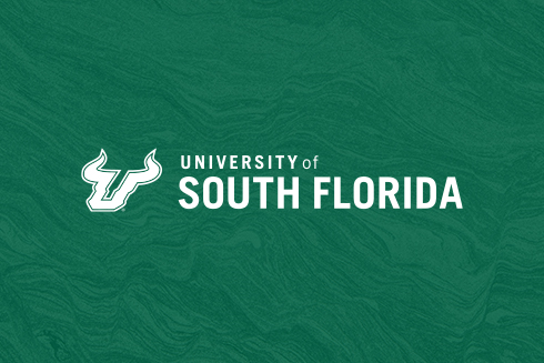 University of South Florida logo and Bull U in white on green backgroujd