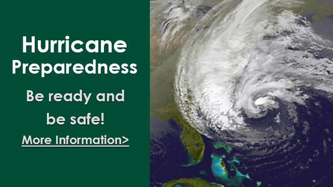 Hurricane Preparedness Be ready and be safe! Flyer with a picture of a hurricane from space.