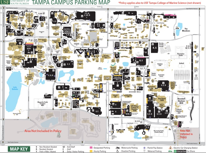 map of the enforcement area for the tobacco and smoke free policy at USF Tampa