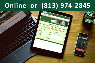 Online or (813) 974-2845. Photo of a Laptop, iPad and iPhone