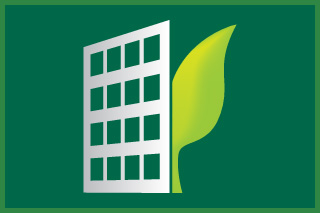 Building graphic with a leaf.
