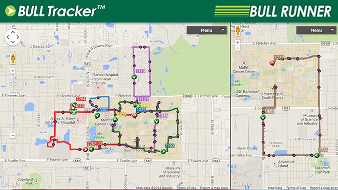 A google map view of USF bus routes