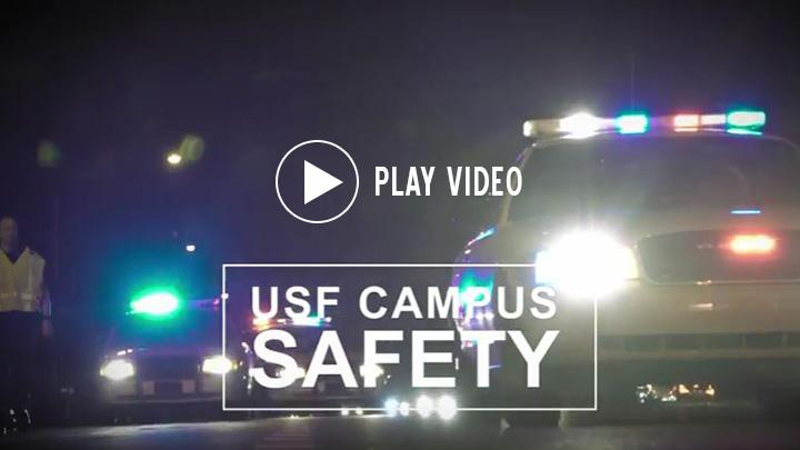 USF Campus Safety video with a police car with the lights on.