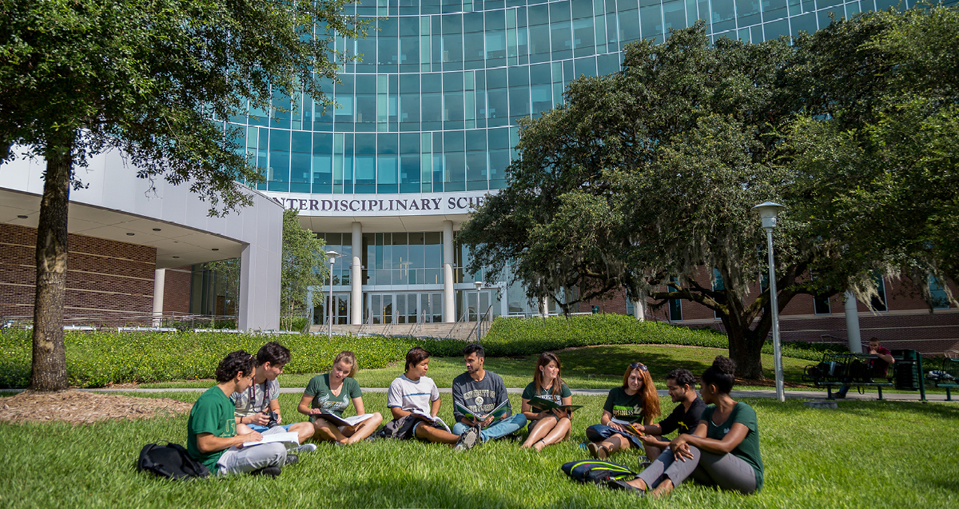 USF students sitting outside on the Tampa campus.