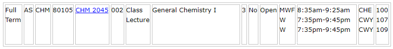 General Chemistry course listing