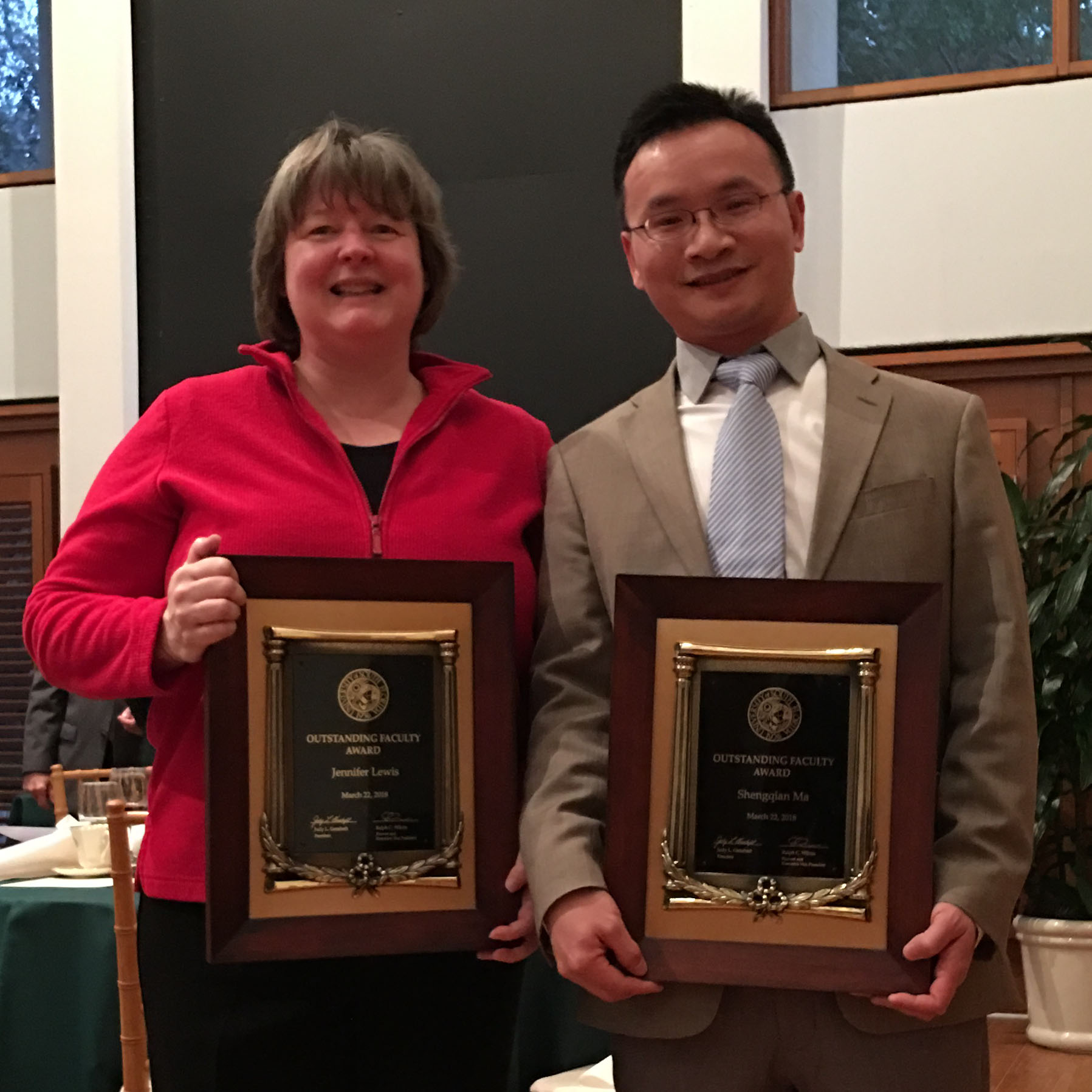 Outstanding Faculty Awardees, Dr. Jennifer Lewis and Dr. Shengqian Ma