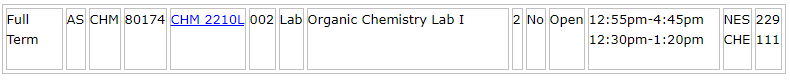 Organic Chemistry lab course listing