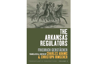 Image shows the cover of The Arkansas Regulators, edited by Charles Adams.... Cover image includes a drawing of men riding horses.