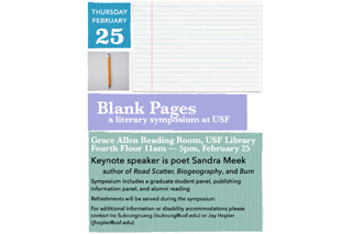 Image of past Blank Pages event flyer showing a pencil and a blank sheet of lined paper
