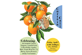 Image of past Curtain Call event flyer shows text in bubblees of different colors and an illustration of a branch from an orange tree with a number oranges, leaves, and small, white flowers.