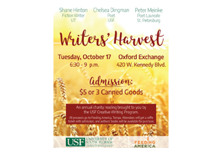 Image of past Writer's harvest flyer with a background image of a golden wheat field