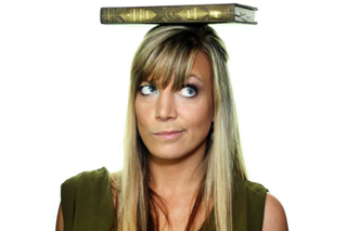 Image shows Melissa Carroll with a book on her head, looking up and to the right