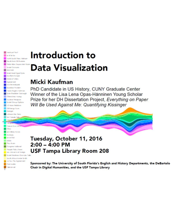 "Image shows a graph that looks like a wavy rainbow going horizontally across the middle of the flyer. In black text, it gives meeting information about Kaufman's October 11, 2016 workshop called ""Introduction to Data Visualization."""