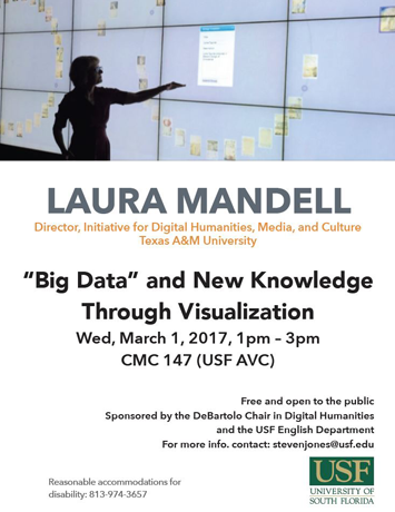 "Image shows flyer with the top third being an image of Laura Mandell lecturing in front of a wall of interactive television screens, and she is pointing at something on one of the screens. The bottom two thirds shows information about her past event on ""'Big Data' and New Knowledge Through Visualization"" on March 1, 2017."