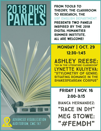 Image shows flyer for 2018 DHSI Panel event