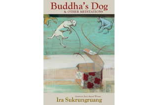"Image shows book cover of ""Buddha's Dog & Other Meditations"" by Ira Sukrungruang. The image is a painting of a patterned hexagonal box that 3 dogs have sprung out of, with the motion indicated by looping, curved lines. The cover notes that it is an American Book Award Winner."