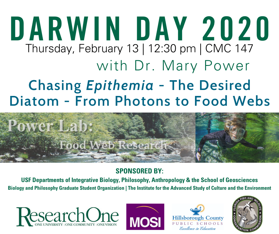 Darwin Day 2020 Speaker Mary Power February 13 at 12:30 in CMC 147