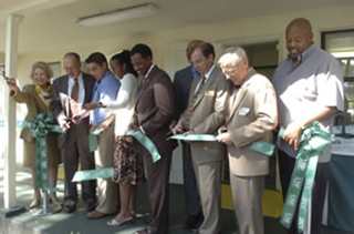 Ribbon cutting at Sanderlin Center