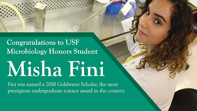 Misha Fini a Microbiology Honors student was named a 2018 Goldwater Scholar.