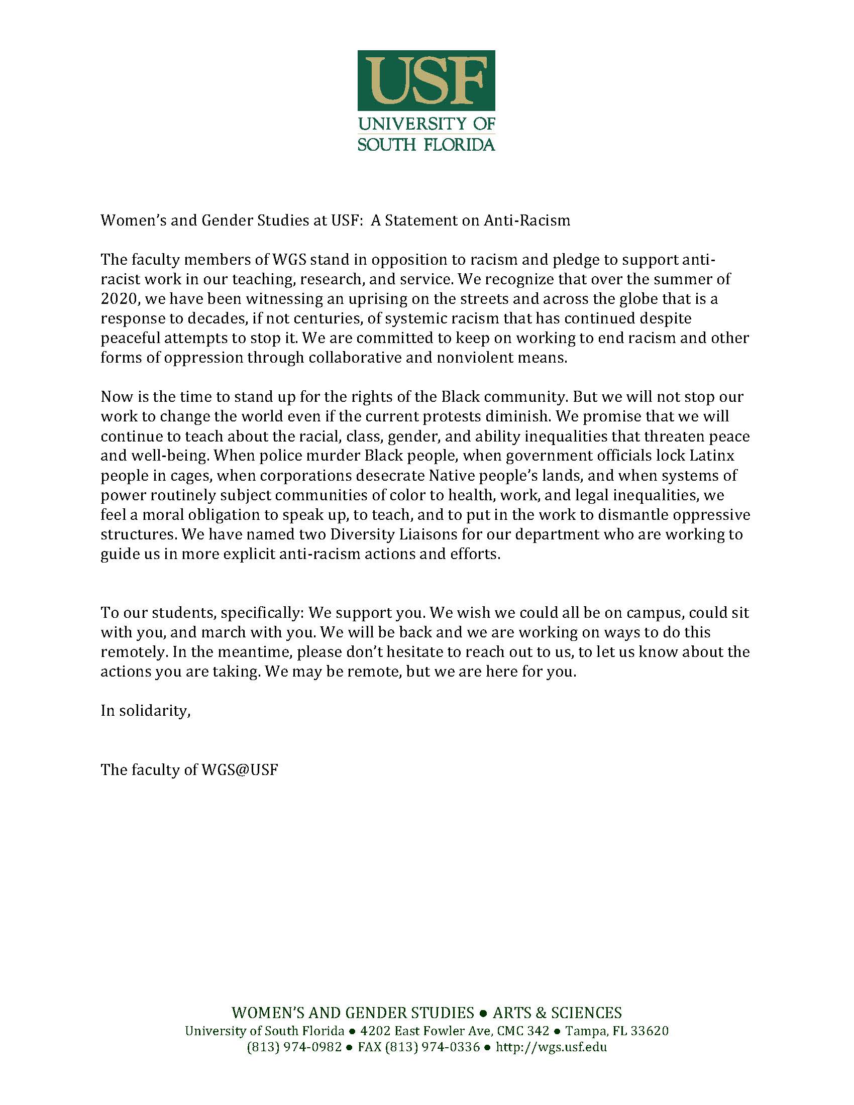 WGS Statement on Anti-Racism