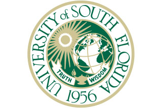 "Round USF Logo that says ""University of South Florida 1956 Truth Wisdom"""
