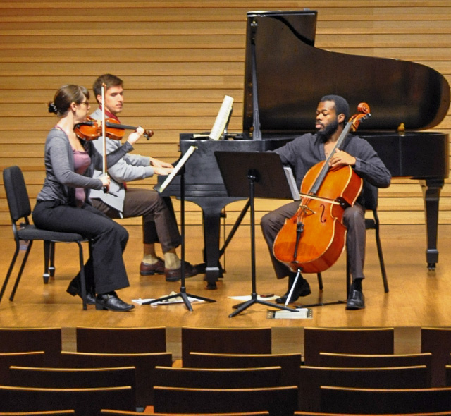 Chamber Music - Photo of student-musicians playing during a chamber music rehearsal.