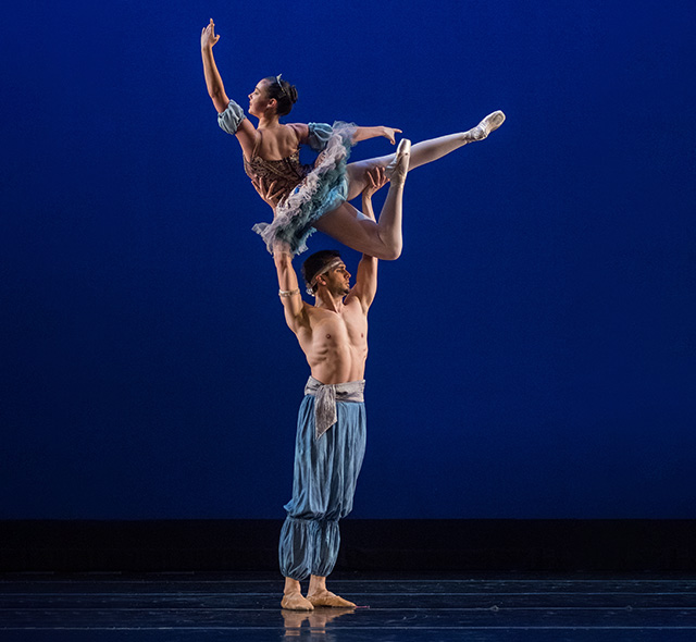 Dance Performance (Ballet or Modern) - Pair of dance students performing a ballet lift on stage.