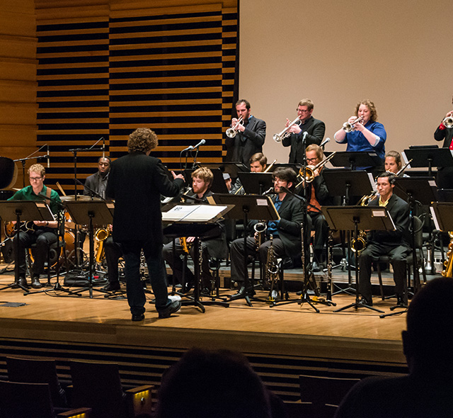 Jazz Composition - Photo of jazz composer and jazz students performing a winning composition at a Monday Night Jazz event in the USF School of Music.