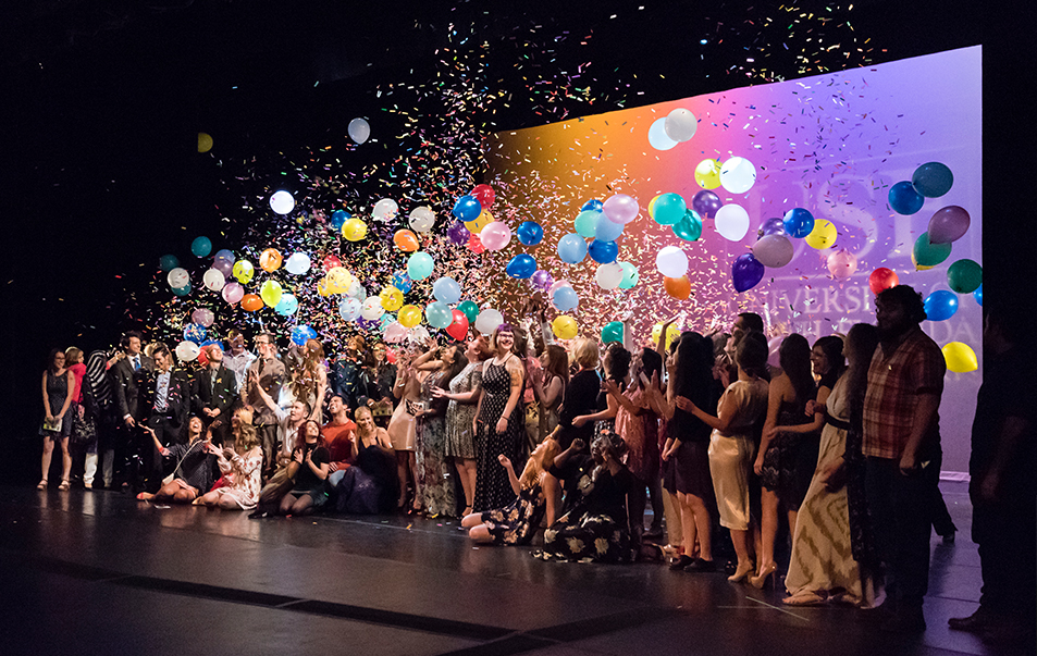 Balloon and confetti drop during the annual Graduation Celebration event at the USF College of The Arts