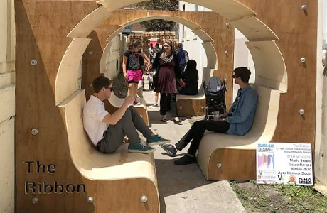 USF SACD student work at Tampa Bay Design Week. Creating urban rooms within Ybor City's alleyways.