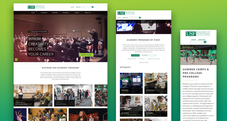 Side-by-side screenshots showcasing the responsive nature of the new College of The Arts website design