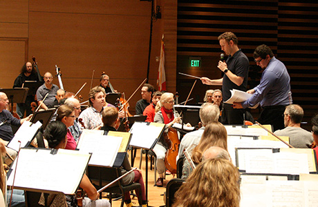 The Florida Orchestra rehearsing a USF Music student composition