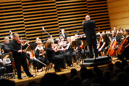 The USF Symphony Orchestra performs in the USF School of Music's Concert Hall.