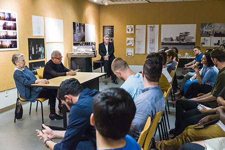 USF Architecture students attending a Q&A session with visiting lecturer, Daniel Libeskind.