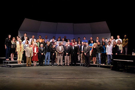 USF Architecture & Community Design students, faculty and donors at a scholarship award ceremony.