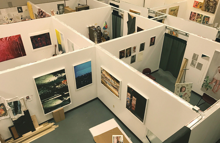 Birds-eye view of the Master of Fine Arts studio spaces.