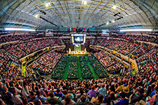USF Commencement - Photo of a wideangle view of a USF Tampa commencement ceremony from inside the USF Sundome.