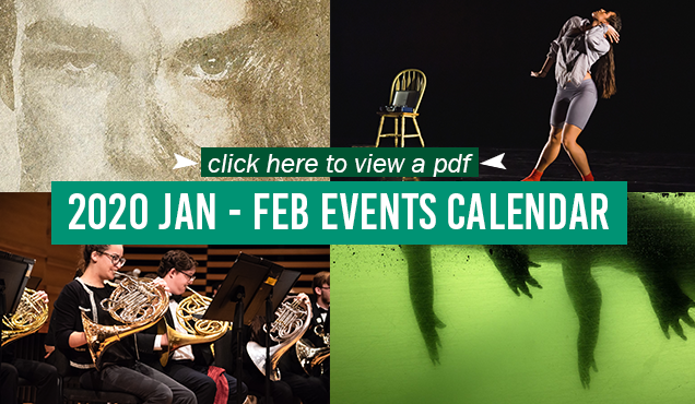 Preview image for the 2020 January-February Events Calendar. From clockwise left to right: An illustrated poster for TheatreUSF's Orlando depicting a close-up of a face; a solo female dancer mid-dance pose with a chair a few feet behind her on the stage; the lower half of an alligator is visible in murky green waters; students perform with the trombone as part of an orchestra.