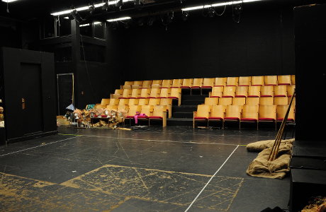 Seating and floor of TAR 130 black box theatre.