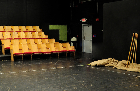Performance area and side space of Theatre Centre black box theatre.