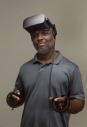 portrait of McArthur Freeman with virtual reality equipment
