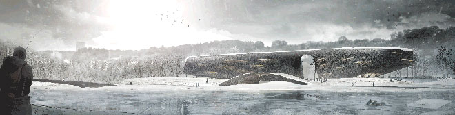 rendering for M.K. Ciurlionis Concert Centre by USF alumni and collaborators near frozen river in winter
