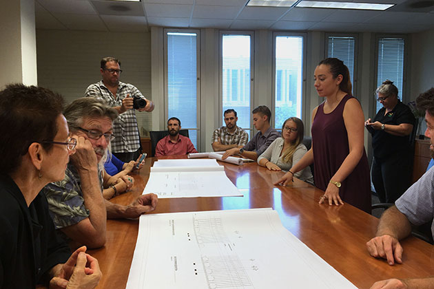USF architecture students discuss construction drawings' development with board members from celebrate Outreach