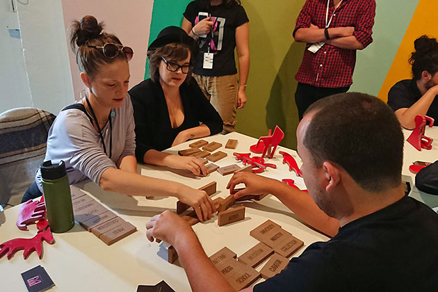 participants complete a hands-on activity at the workshop led by Cesar Cornejo at the Creative Time Summit in Miami