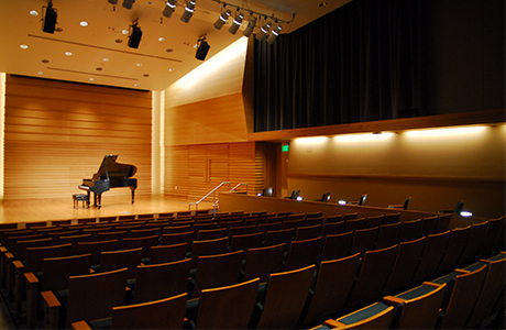 View of Barness Recital Hall seats and stage.