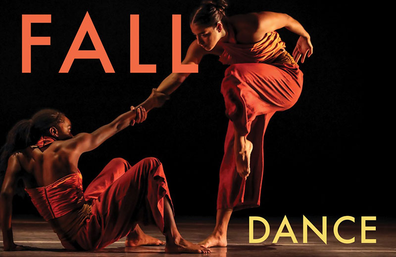 2020 Fall Dance Concert poster showing two women dancers mid-dance: One dancer is rising from a sitting position on the ground, she holds onto the outstretched hand of the other dancer, who is standing on one leg and tucking her leg under her chest at 90 degrees.