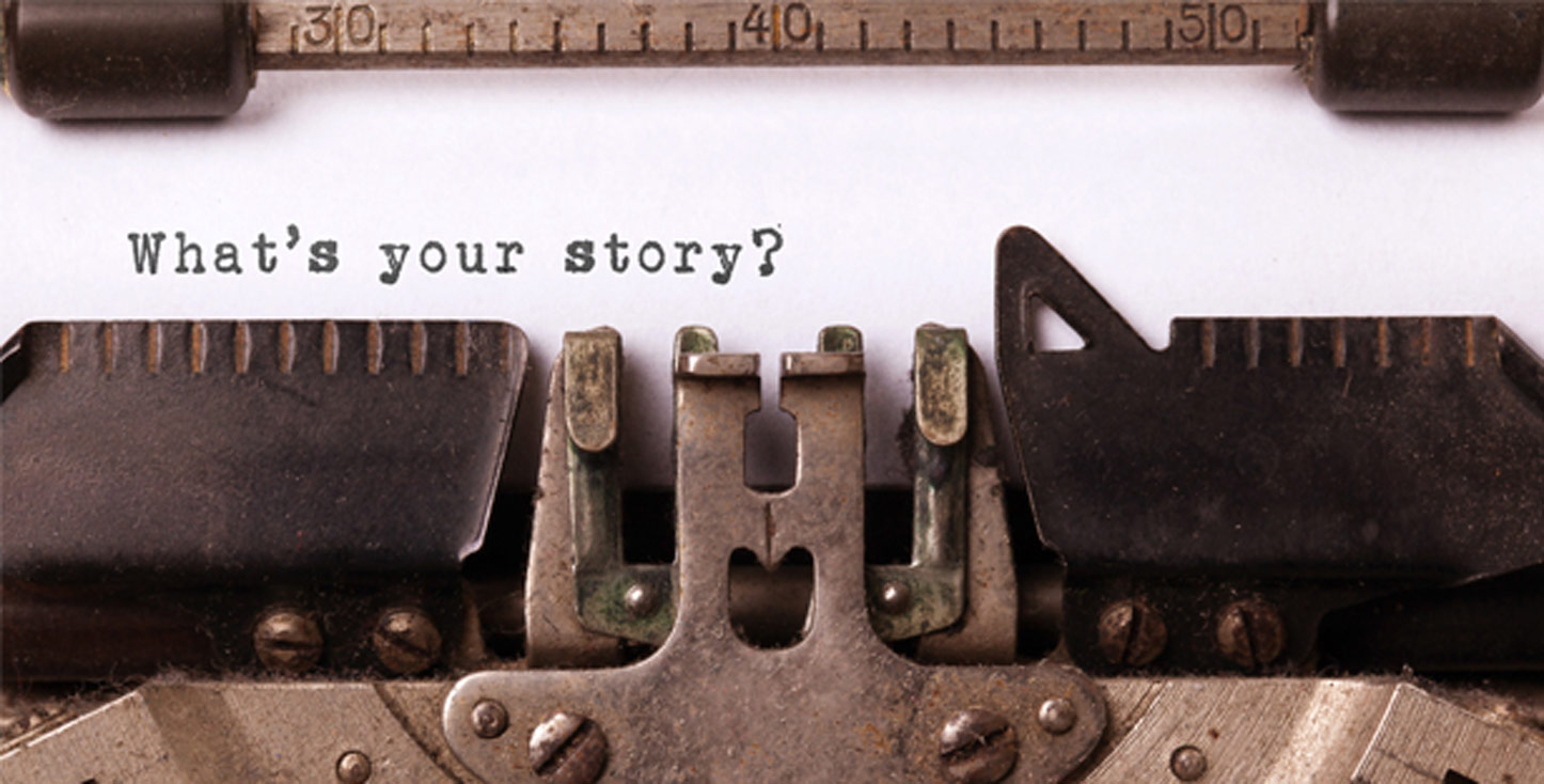 "Text typed on a sheet of paper in a typewriter saying ""What's your story?"""