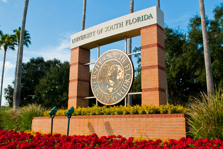 The USF seal at the USF Tampa campus.