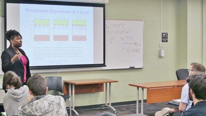 Professor Sylvia Thomas teaching a small class.