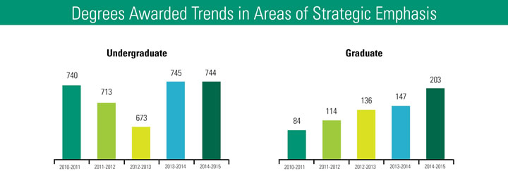 Degrees Awarded Trends in Areas of Strategic Emphasis